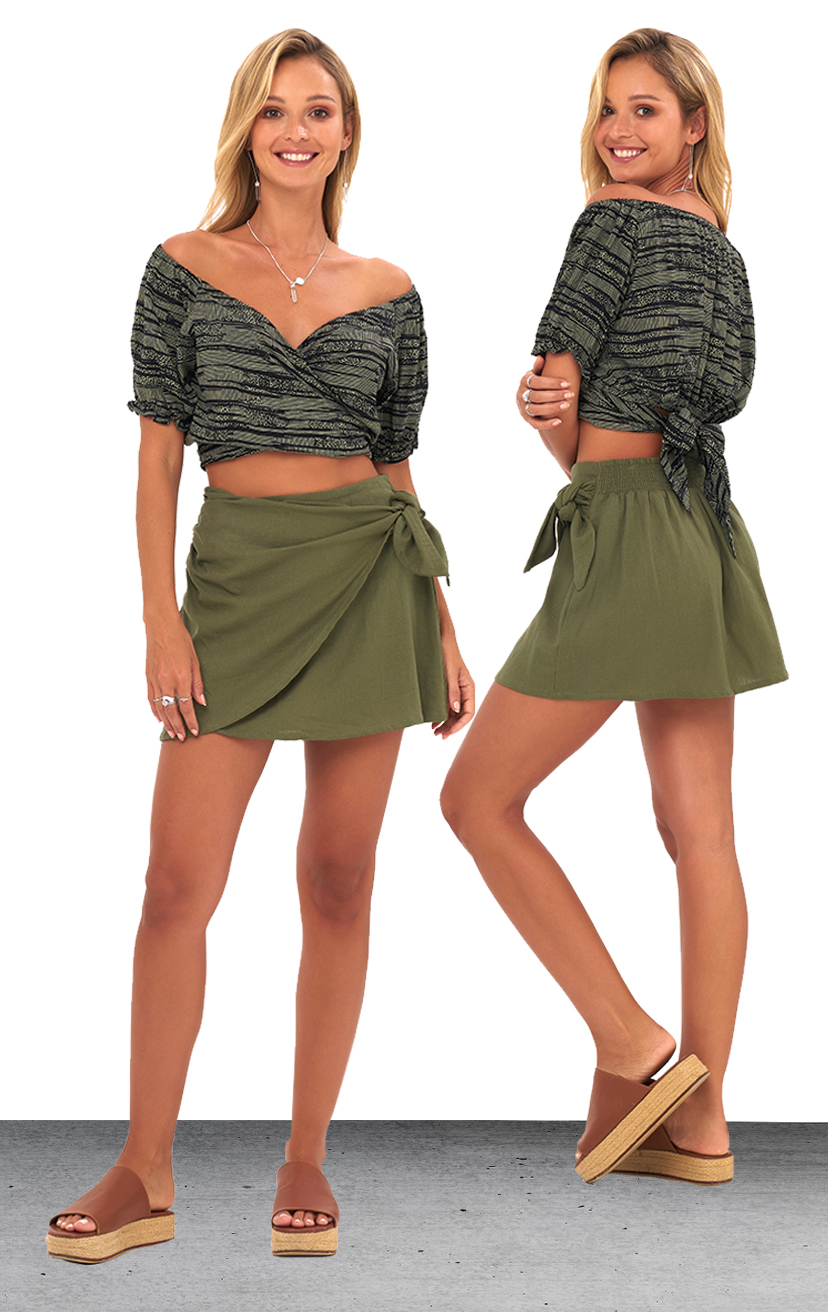 TOP KAUANA   Off shoulder tied around crop top, short slv w/ elastic  100% RAYON | XS-S-M-L  –   SKIRT NANINE   Double front layer tie-side mini skirt, back elastic  100% RAYON & LINE | XS-S-M-L
