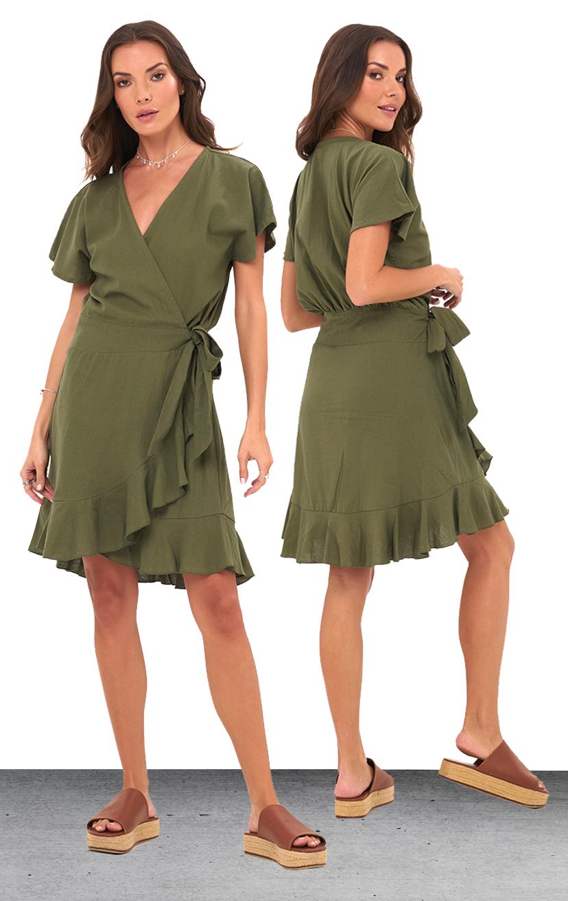DRESS DANDARA   S/s ruffle edge, side tie, wrap short dress  100% RAYON & LINEN| XS-S-M-L