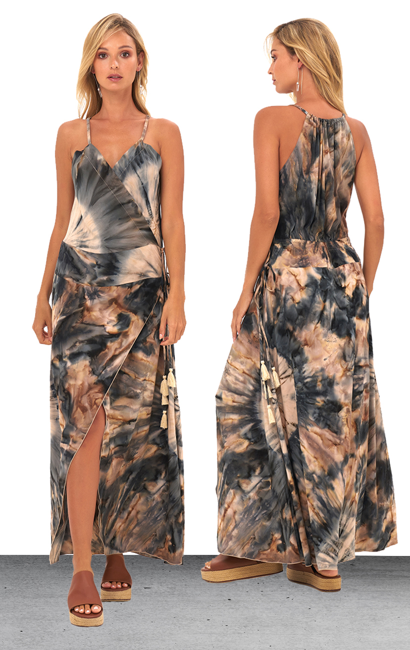 DRESS LAULANI   V-neck wrap front with side tassel ties, asymmetrical wrap skirt long dress  100% RAYON | XS-S-M-L