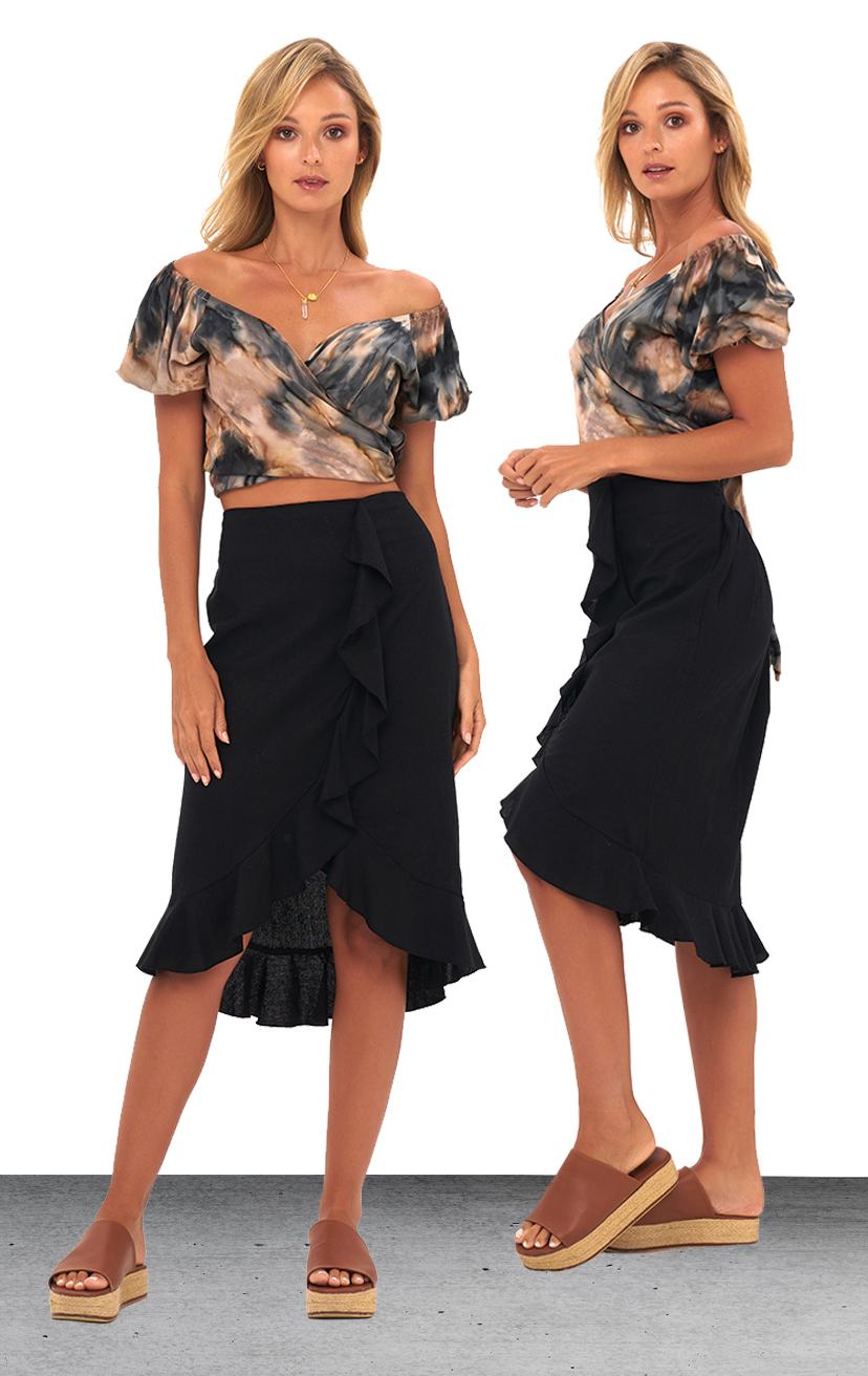 TOP KAUANA   Off shoulder tied around crop top, short slv w/ elastic  100% RAYON | XS-S-M-L  –   SKIRT LANIE   Midi high-low skirt, w/ front & bottom edge ruffle detail, back elastic waist  100% RAYON & LINEN| XS-S-M-L