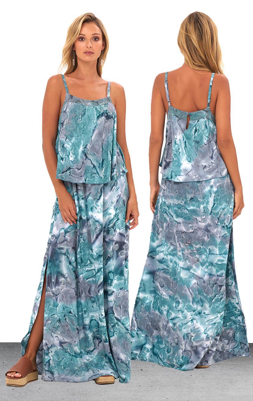 DRESS MANCORA   Ruffle top dress, beaded front detail, side slits maxi dress  100% COTTON | XS-S-M-L