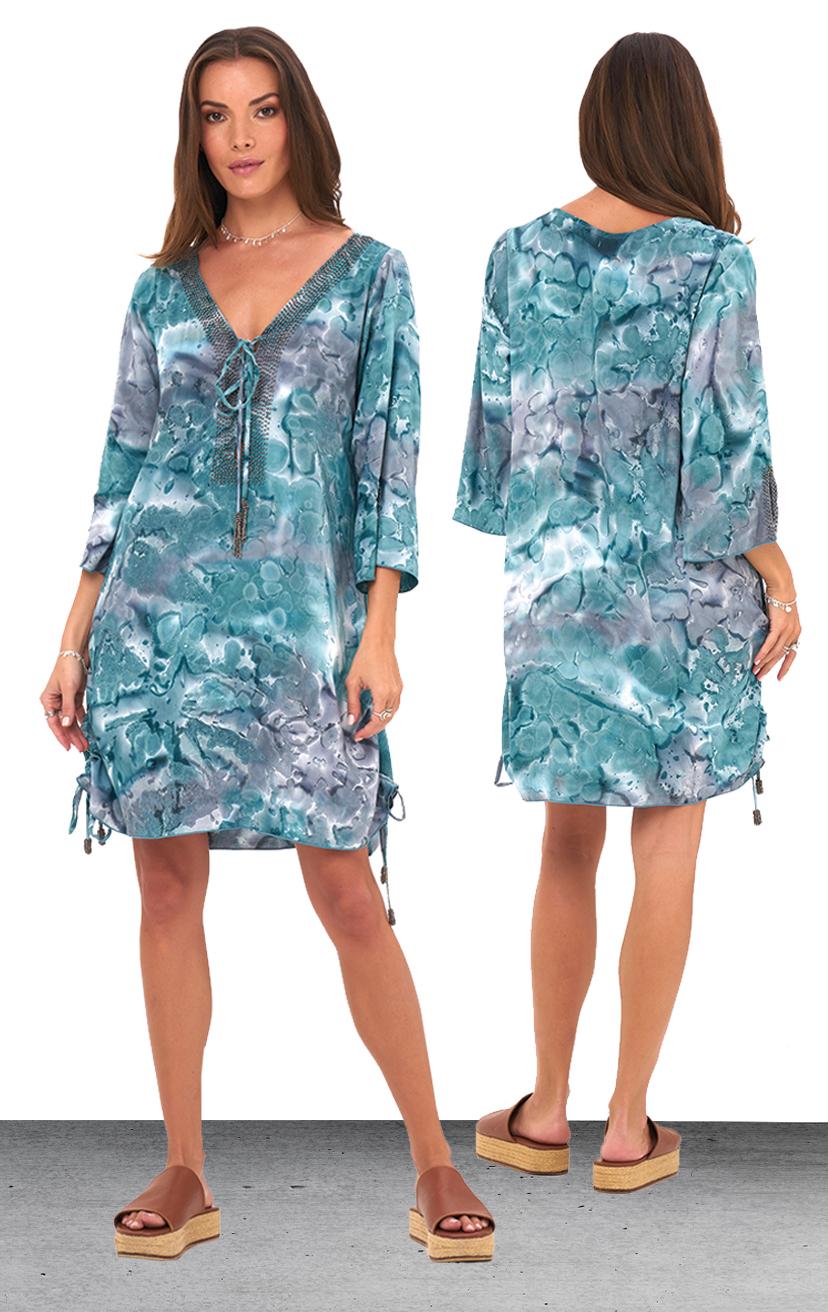 TUNIC SCARLETT   3/4 slv beaded tunic dress, side adjustable ties  100% RAYON | XS-S-M-L