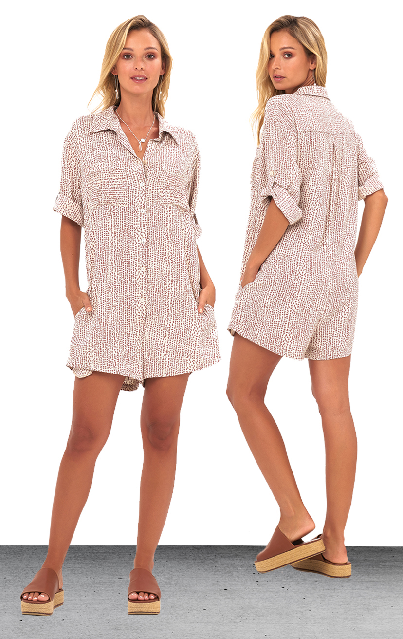 ROMPER ANAHI   Button down shirt romper, front pleated pockets, side pockets, fold button up slv  100% RAYON | XS-S-M-L