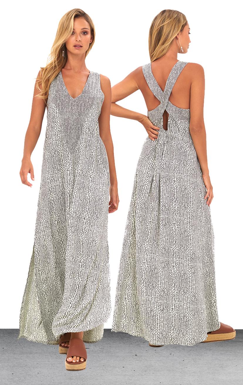 DRESS ALANA   V-neck front, criss cross back, side slits maxi dress  100% RAYON | XS/S, M/L