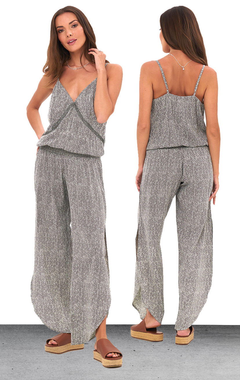 JUMPSUIT PIPER   Spaghetti strap, elastic waist jumpsuit, lace detail under bust, alluring slits down the sides  100% RAYON | XS/S, M/L