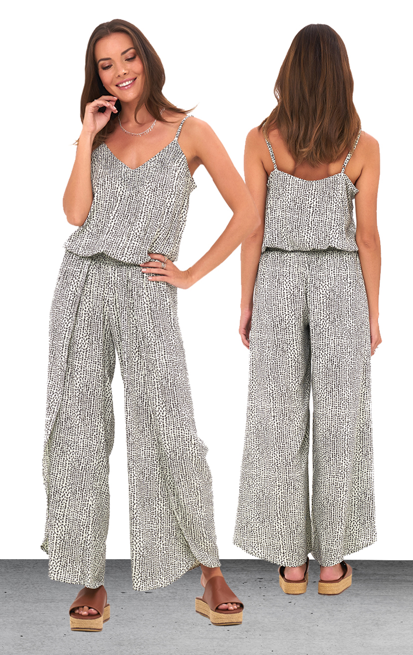 JUMPSUIT AYLA   Beaded v-neckline, spaghetti strap, wrap style pant, elastic waist jumpsuit  100% RAYON | XS/S, M/L