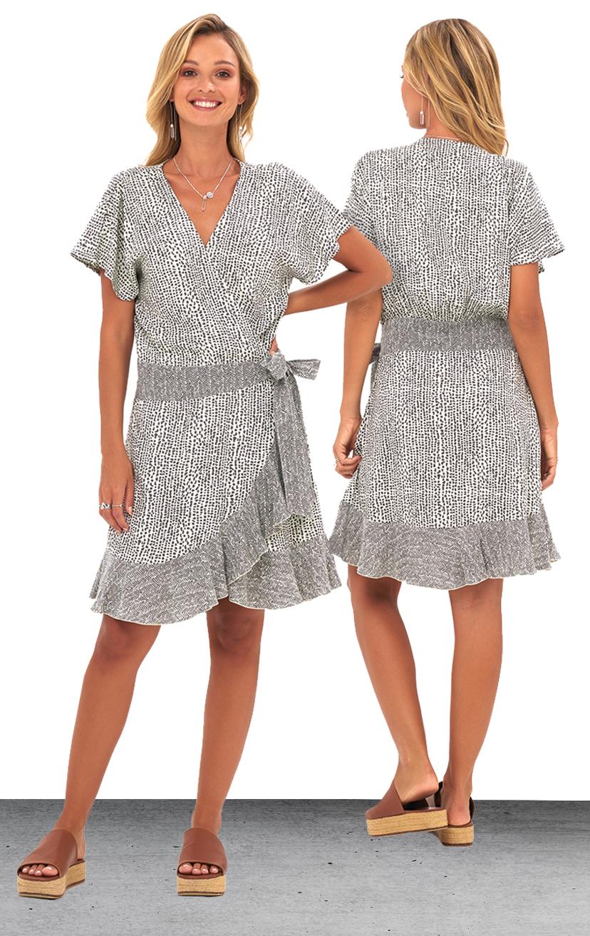 DRESS DANDARA   S/s ruffle edge, side tie, wrap short dress  100% RAYON | XS-S-M-L