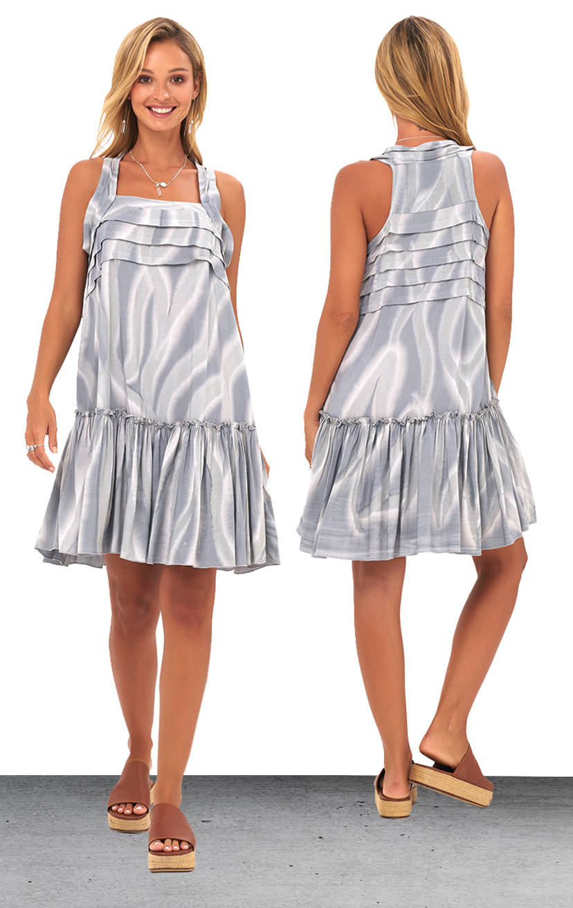 DRESS PRANA   Pleat details at center chest, tank top style short dress  100% RAYON | XS-S-M-L