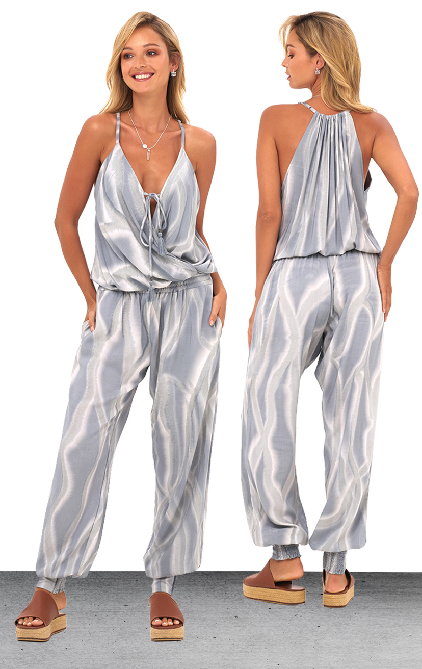 JUMPSUIT VEDA   Spaghetti strap jumpsuit, racerback, elastic waist, front pockets  100% RAYON | XS-S-M-L
