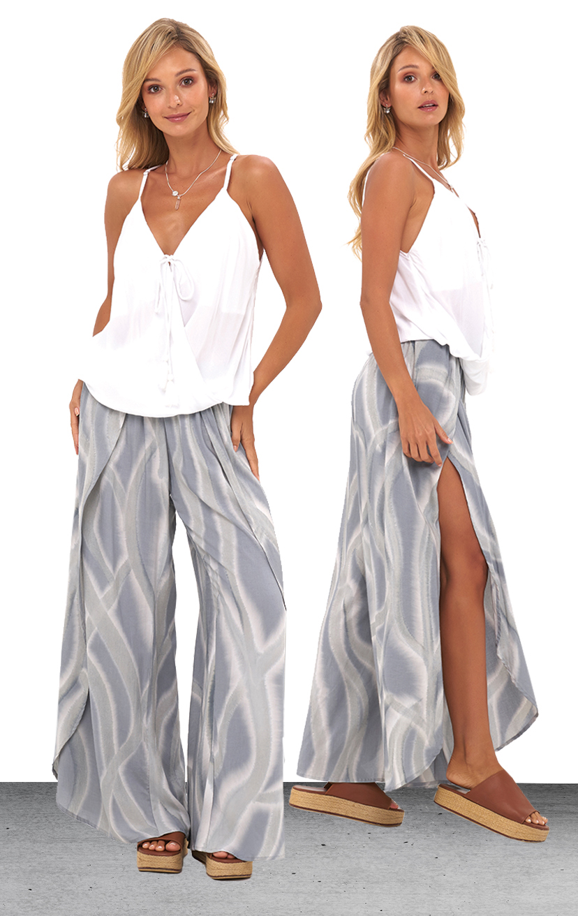 TOP PALOMA   Spaghetti strap racer- back, surplice front with tassel tie top  100% COTTON | XS-S-M-L  –   PANT MAILE   Wrap style pant, elastic waist  100% RAYON | XS-S-M-L