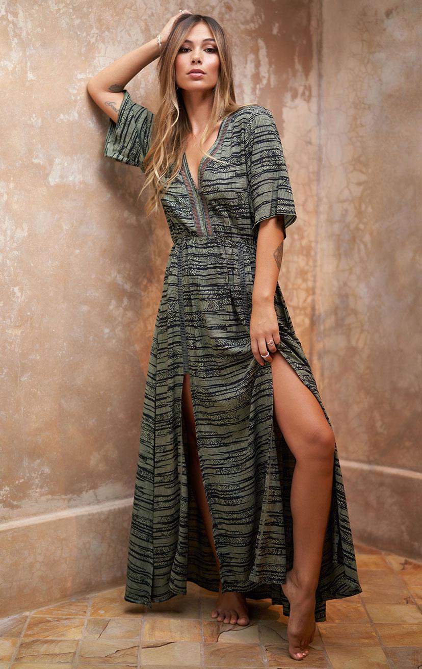 DRESS MOARA   3/4 slv v-neck, elastic waist, front slits, lace detail at neckline & legs, maxi dress  100% RAYON | XS-S-M-L
