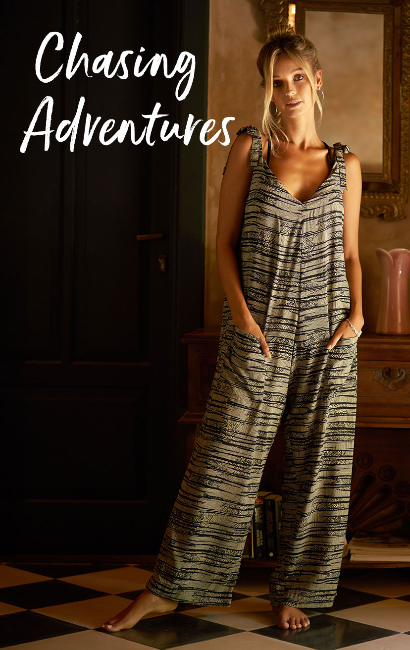 JUMPSUIT GROVE   Overall style jumpsuit, front pockets, shoulder ties  100% RAYON | XS-S-M-L