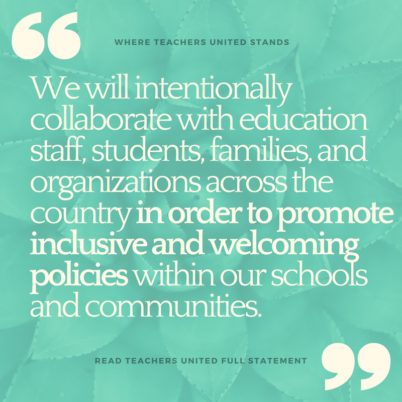 As educators from across the Puget Sound,   we stand against the current administration's targeting of immigrants, LGBTQIA, people of color, students with exceptionalities, and students from diverse backgrounds. We are committed to actions and policies that strengthen our community and   ensure our students' privacy and rights are upheld to the fullest extent of the law. Our classroom spaces are sacred places for learning.  Read more...