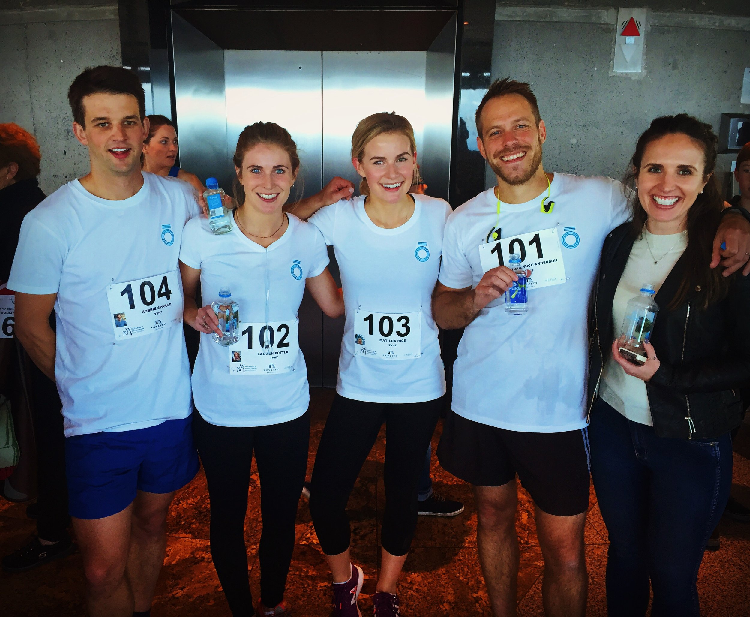 My team after running up 52 flights of stairs!  Running is probably a stretch.