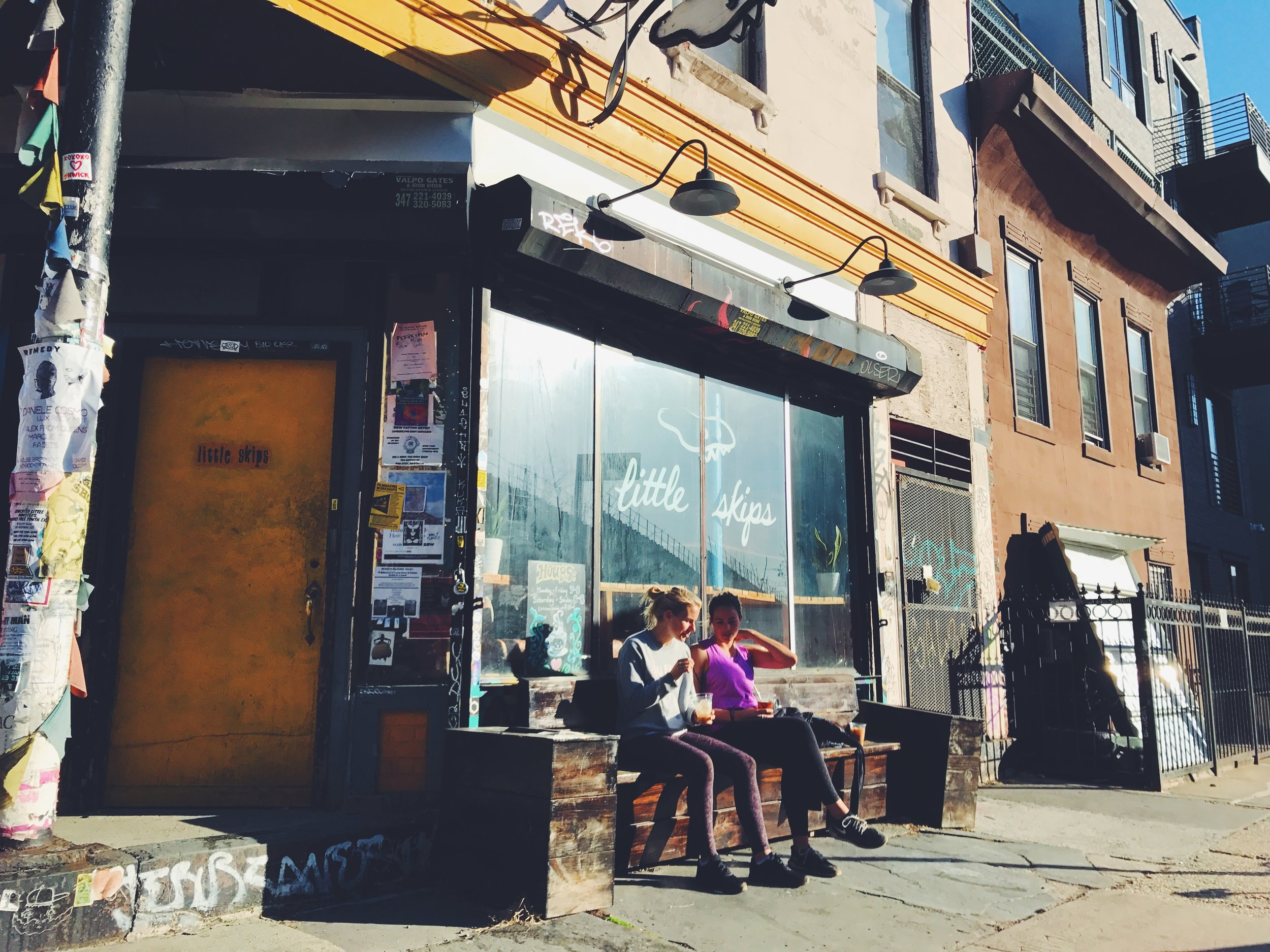 Emily and I at Little Skips, looking all cool and New-Yorkey