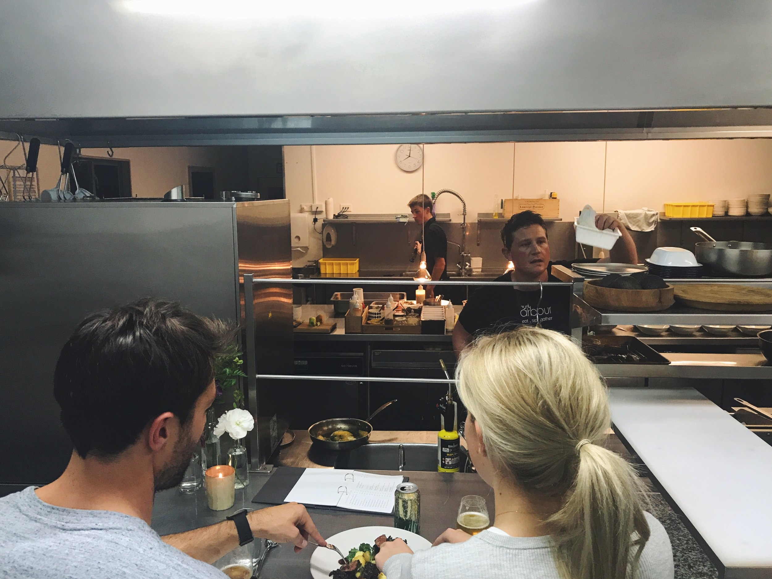 The prep bench at Arbour Dining! That's us tucking in to some steak... Standard!