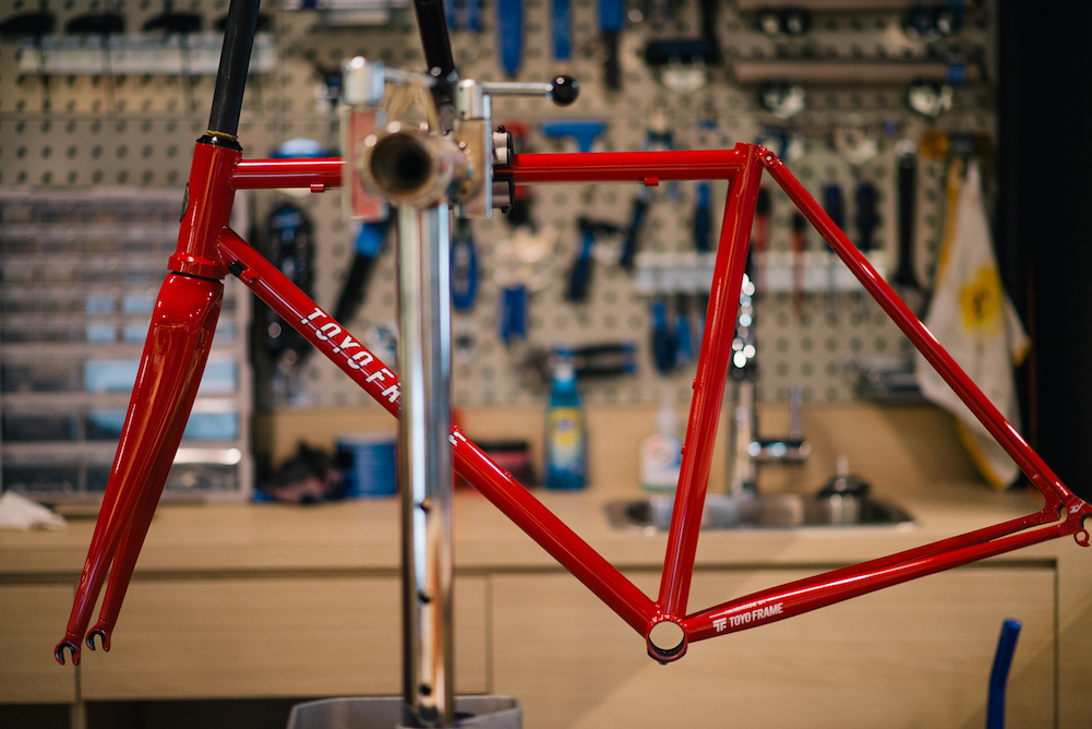 "Road-S frameset in stock ""Toyo Red"". Heat treated tube and carbon fork"