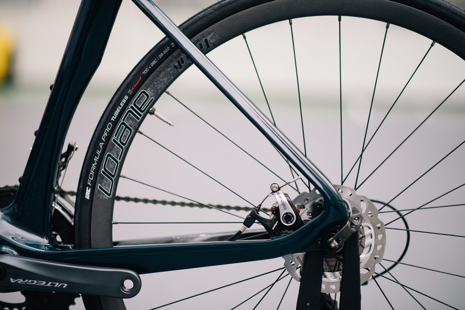 Flat mount disc brake and long chain stay