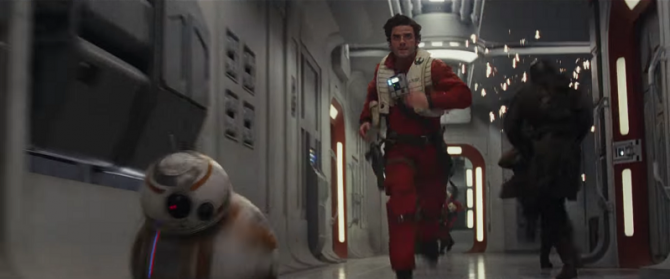 Poe Dameron, pictured running away from Twitter spoilers.