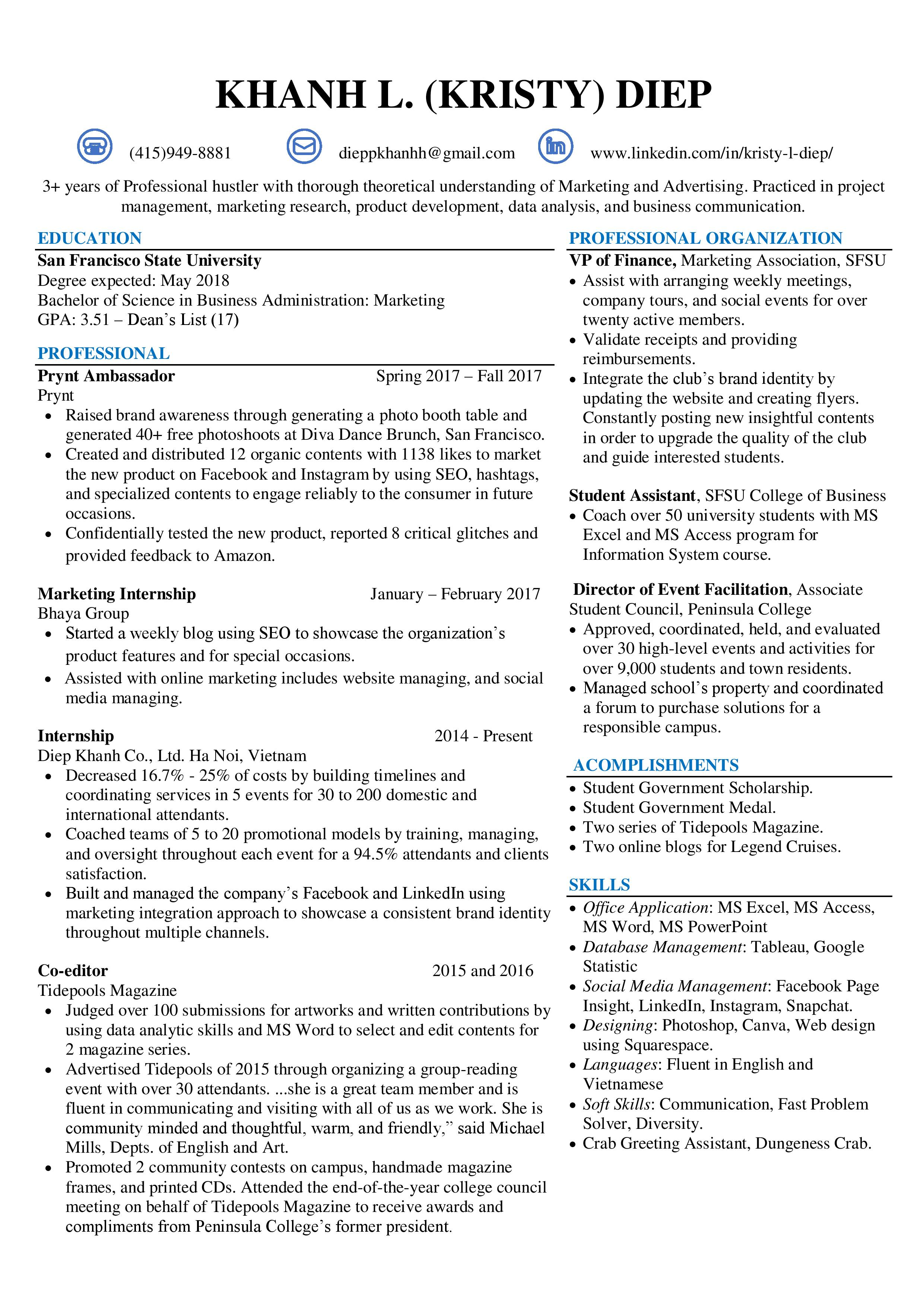Our Member's Resume
