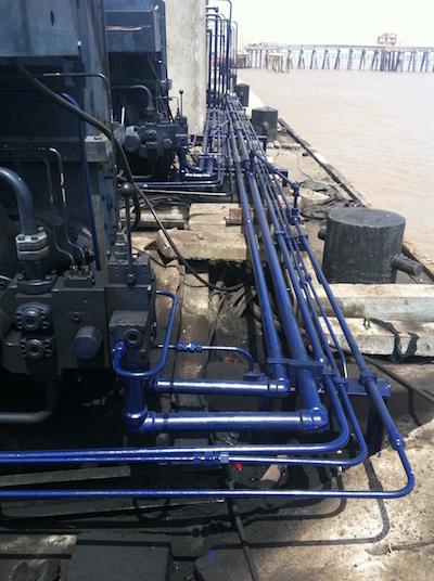Hydraulic piping for Roll's Royce marine winches at Adani port, Dahej.