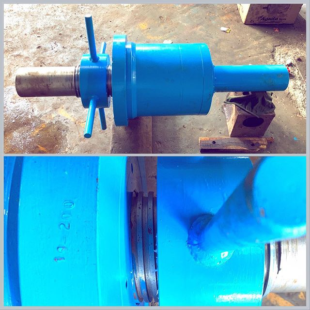 Custom built hydraulic cylinder which doesn't look like one, made for huber group. This one can push 122 tons and positively hold it with this strategically placed square threaded nut on the ram. #hydrauliccompany #hydrauliccylinder #custombuilt #hydraulicactuator