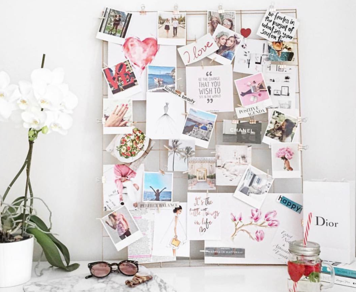Gorgeous grid vision board with goals and dreams clipped in place from  heartandwonder