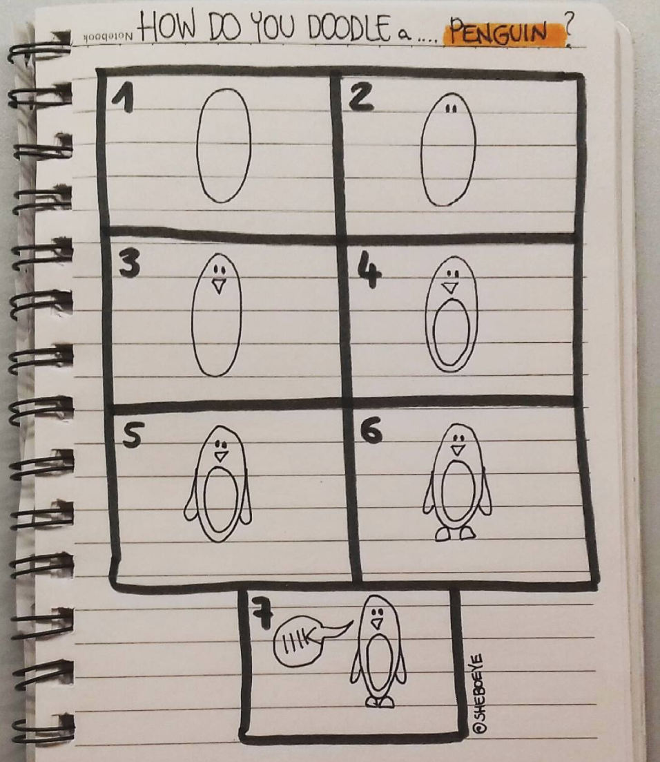Cute penguin Doodle you can make. Check out more cute doodles anyone can draw on Sweetplanit.com