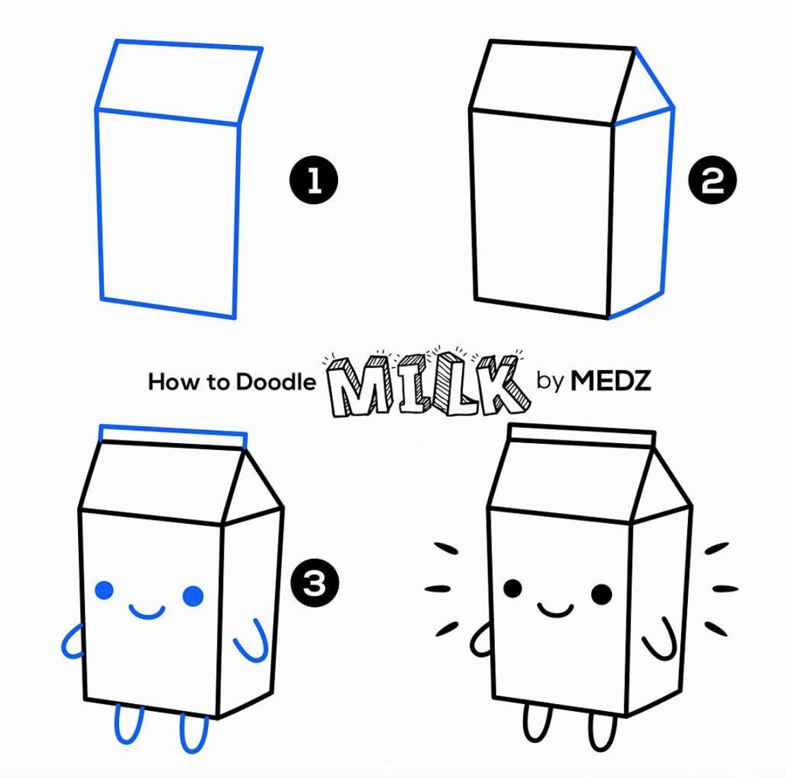Doodles are so fun to make and easy Too! This Cute Milk Carton and Lots more Ideas! Add Them To your bullet journal, Notebook, or Planner!