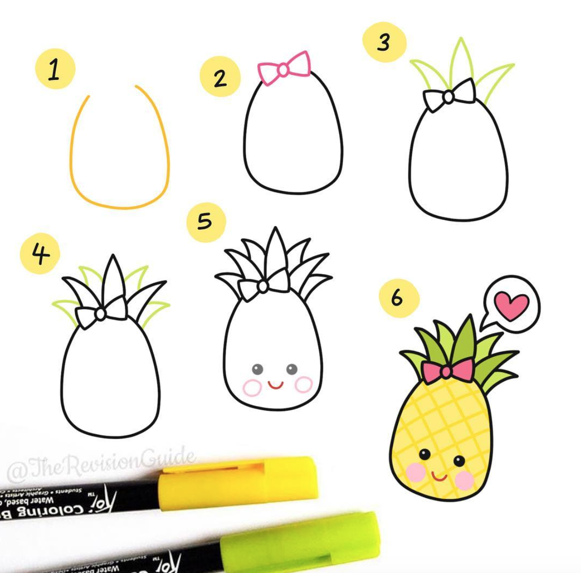Cute Doodles anyone can draw! Perfect Pineapple is an easy To Make Doodle