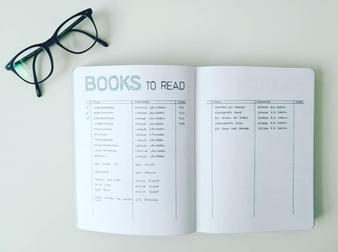 Books to Read! Book tracker in minimalist bullet journal