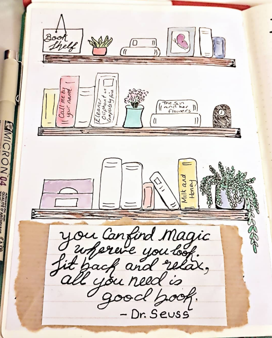 Read more with a bullet journal bookshelf