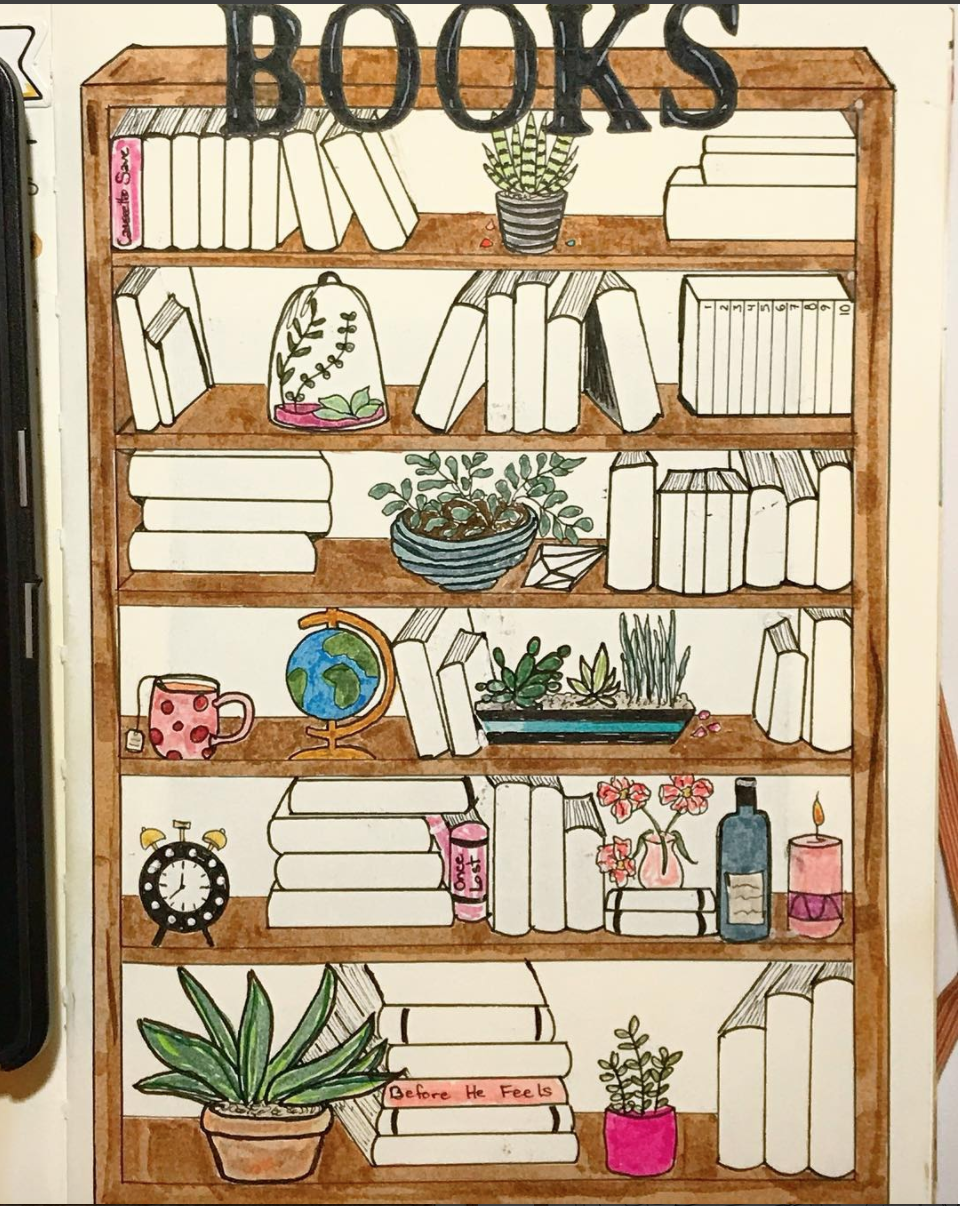 A bullet journal bookshelf is a fun way to motivate you to read more all year long