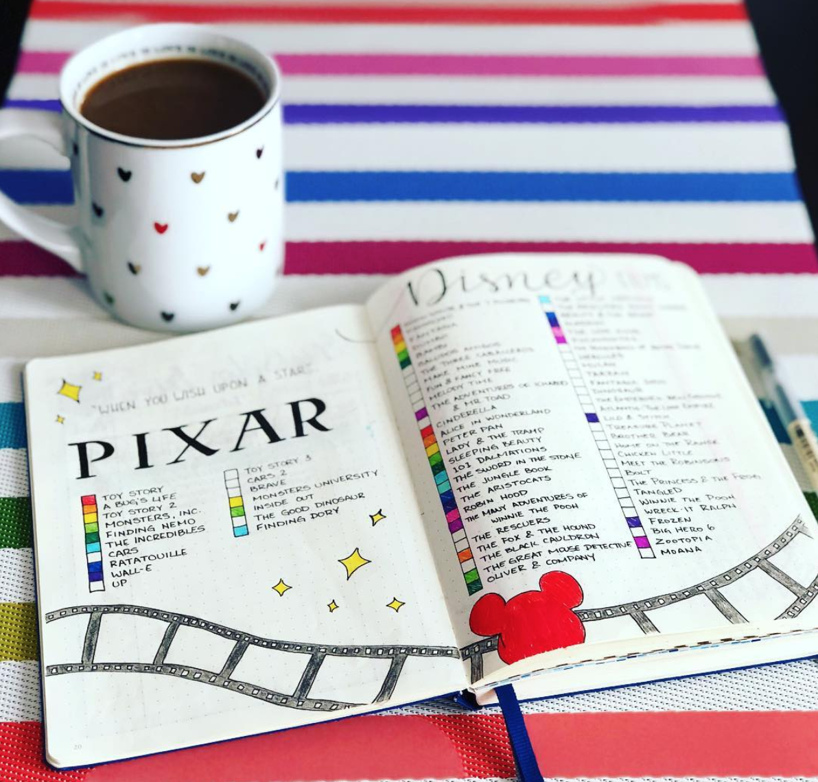 Bullet Journal Disney and Pixar Movie Trackers