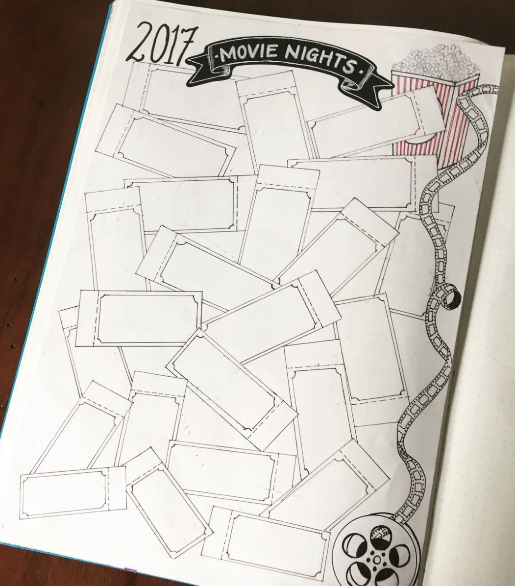 Movie tickets to track movies in a bullet journal
