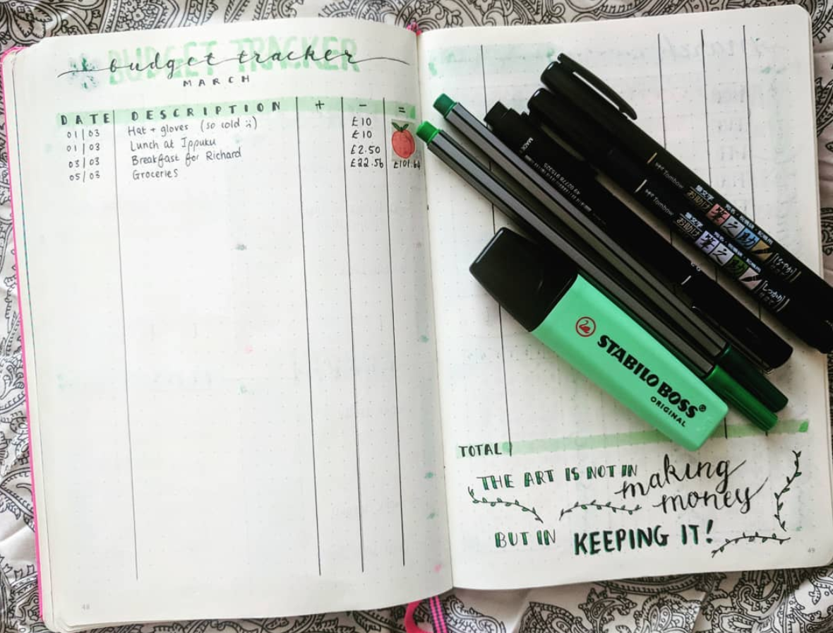 Bullet Journal Budget Trackers