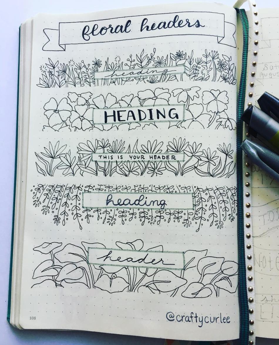 Floral Bullet Journal Headers