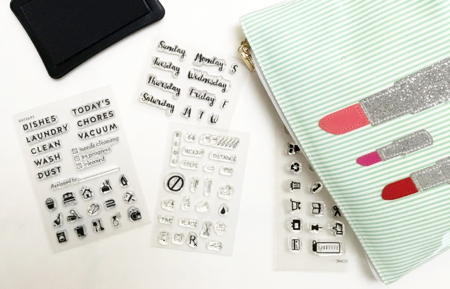 Store Clear Planner Stamps In an Old Cosmetic Bag