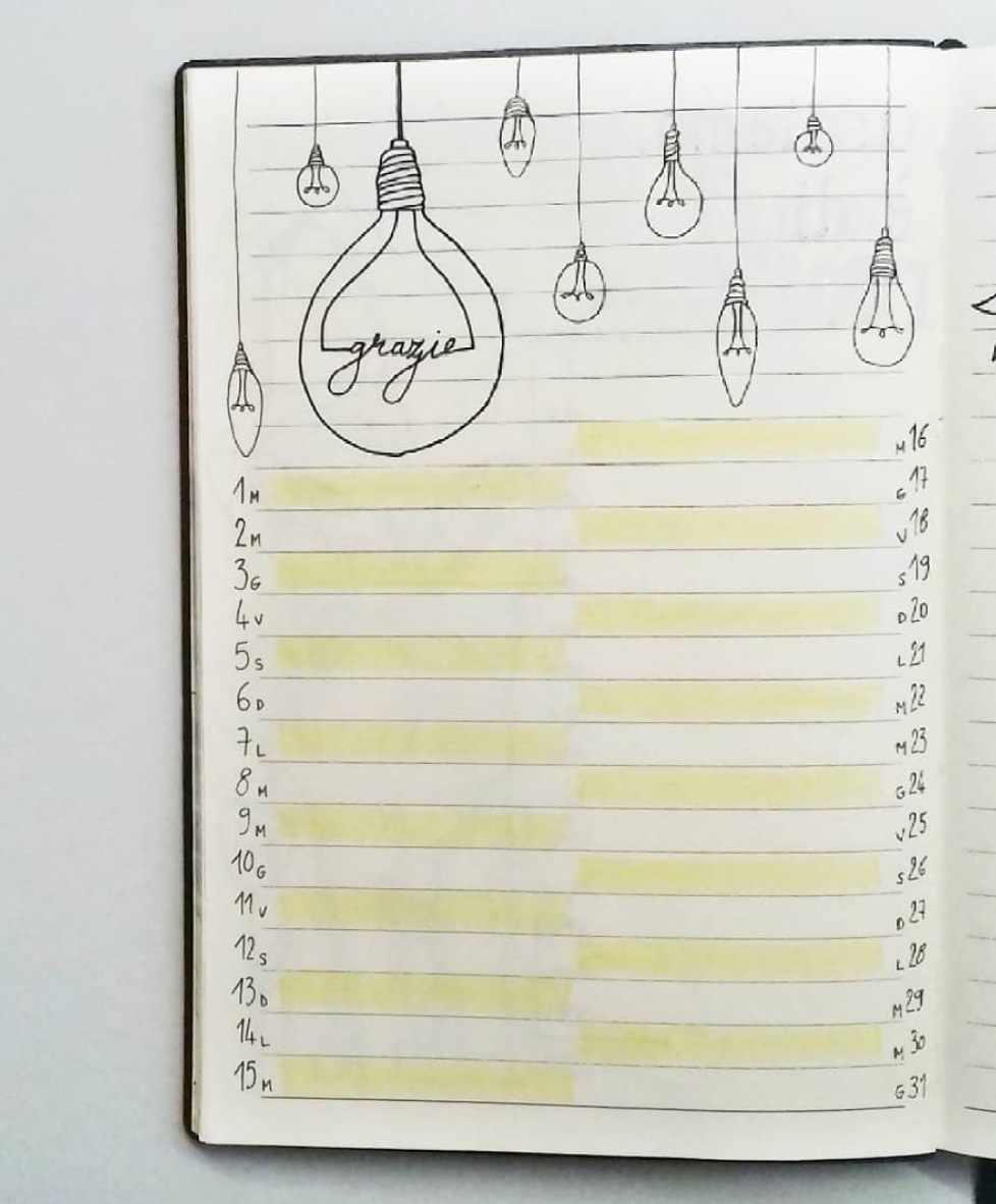 Daily Gratitude Log in Bullet Journal