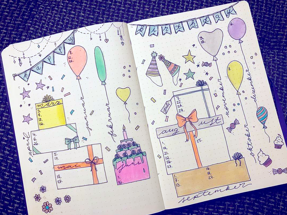 Festive and Fun Bullet Journal Birthday Trackers