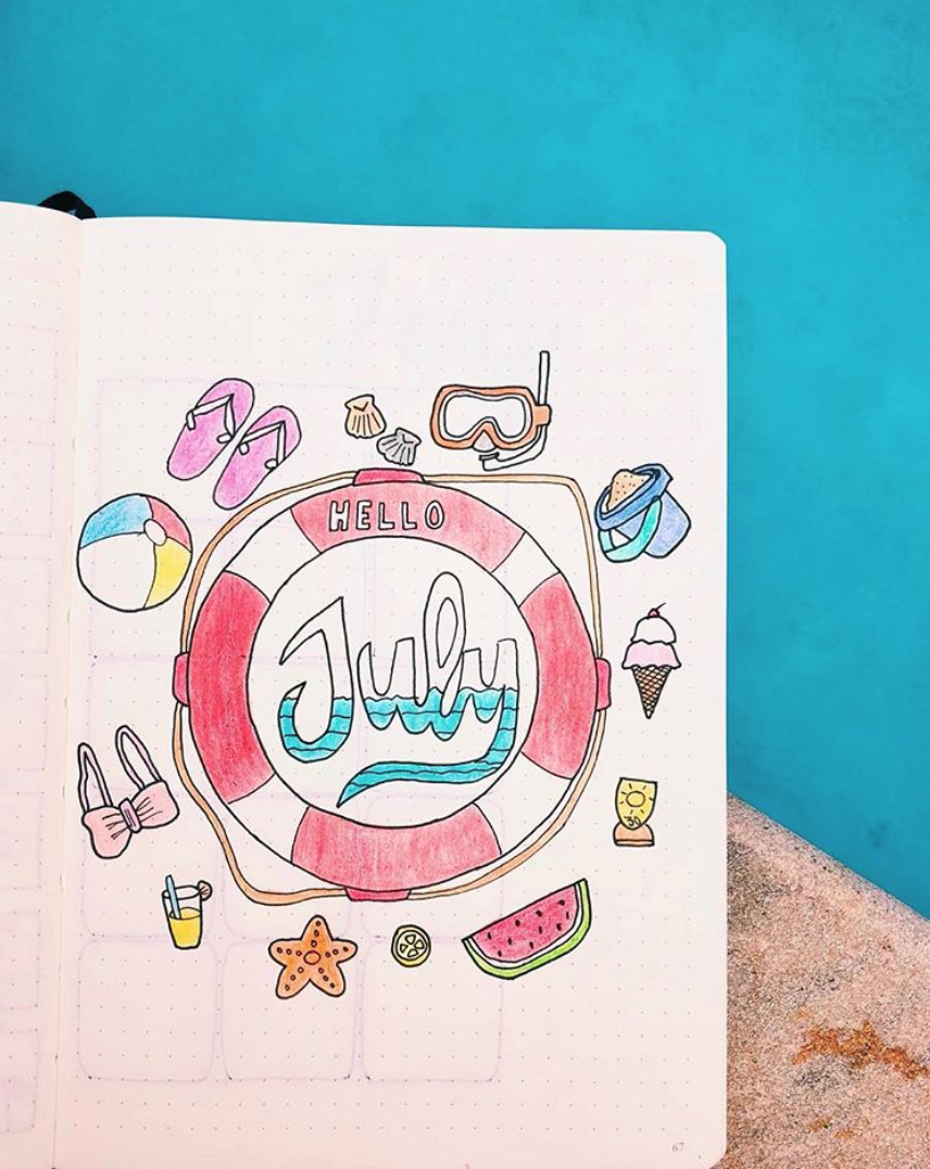 Bullet Journal Page Monthly Ideas for July
