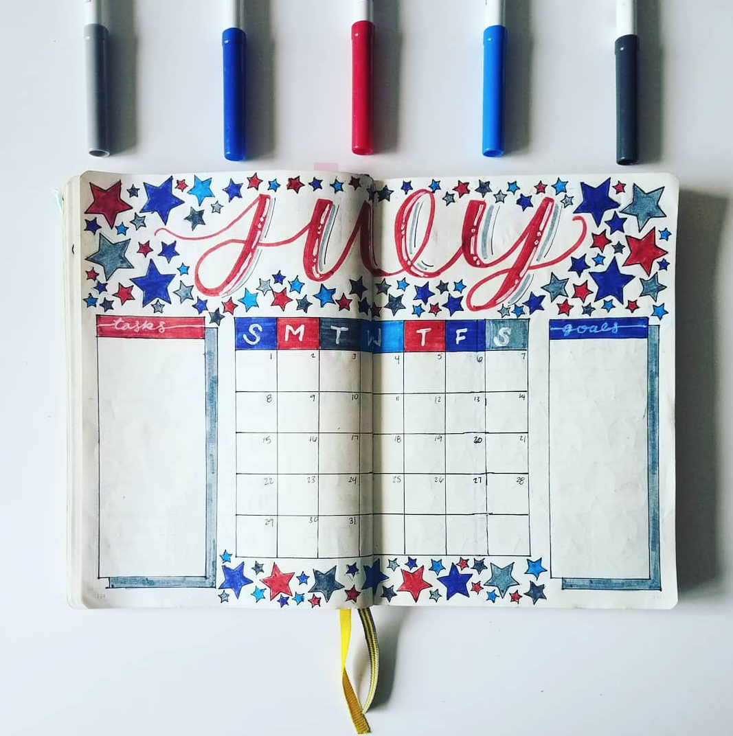 Fun and Festive July Bullet Journal Pages to Create