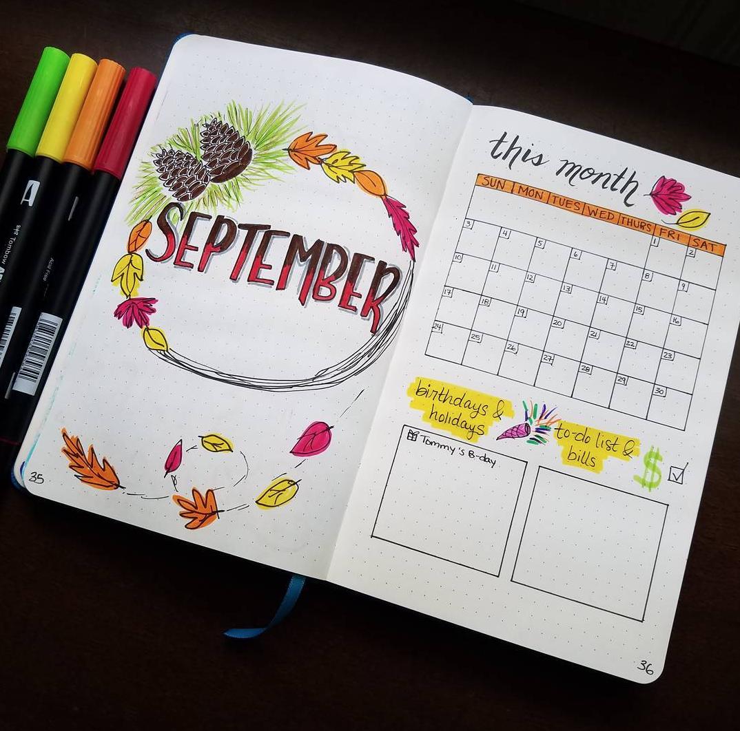 September Bullet Journal Layouts