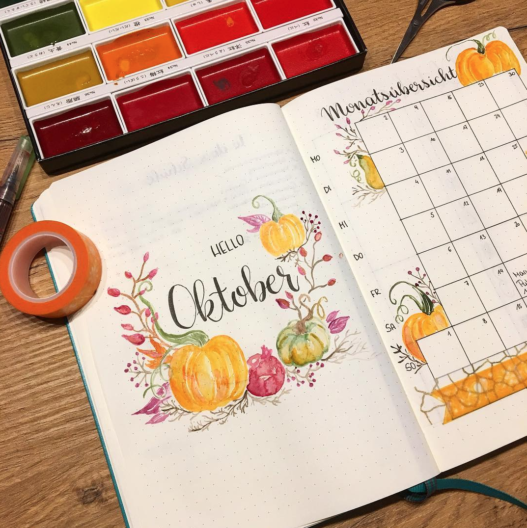 October Bullet Journal Monthly Page Spread