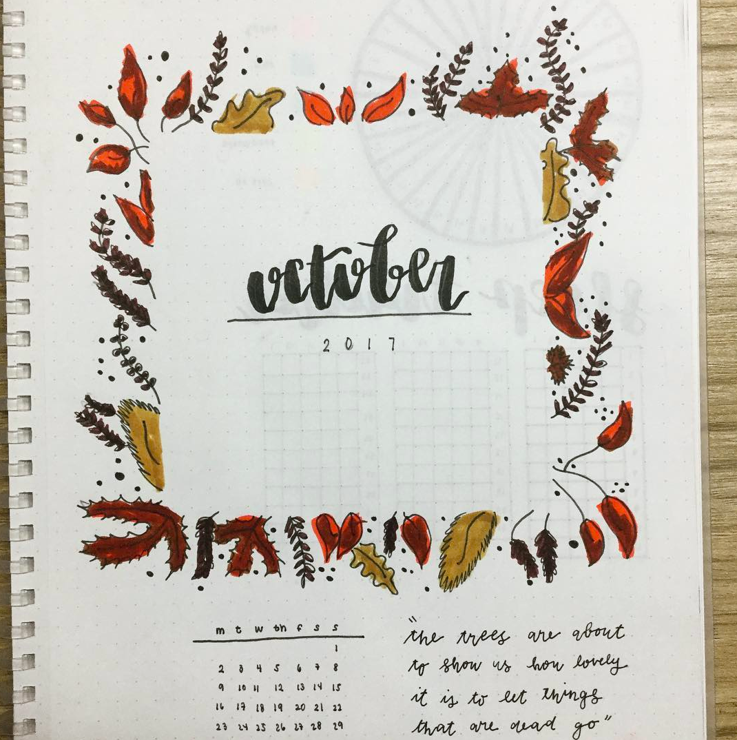 Square Frame! Fun Leaf October Cover Page in Bullet Journal