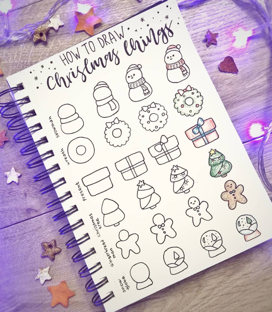 Easy Christmas Bullet Journal Doodles