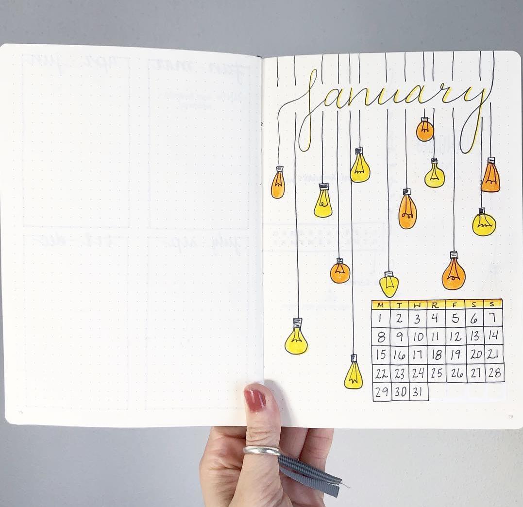 January Calendar Page Spread
