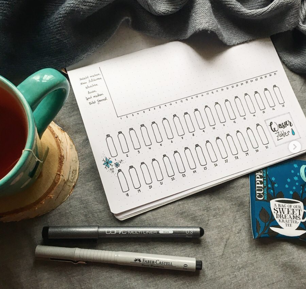 Increase your water intake with a tracker in your bullet journal!