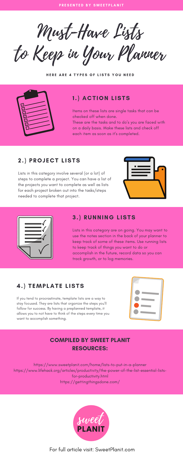 Planner Lists for Organization and Productivity Infographic - Visit website for more lists and ideas!