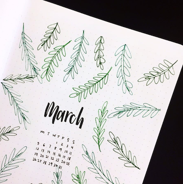 March Bujo Monthly Page Spreads